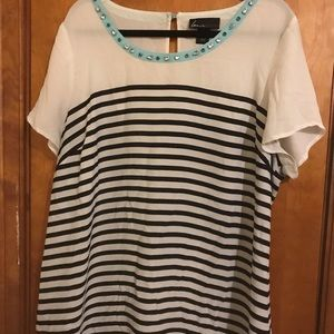 Striped top with pop of color and jewel detail